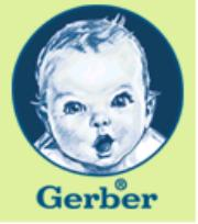 Gerber's picture of a caucasian smiling baby